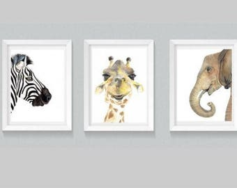 Set of 3 Safari Animal Prints - watercolor prints, gallery wall art, sets of prints, nursery print sets, elephant print, giraffe print