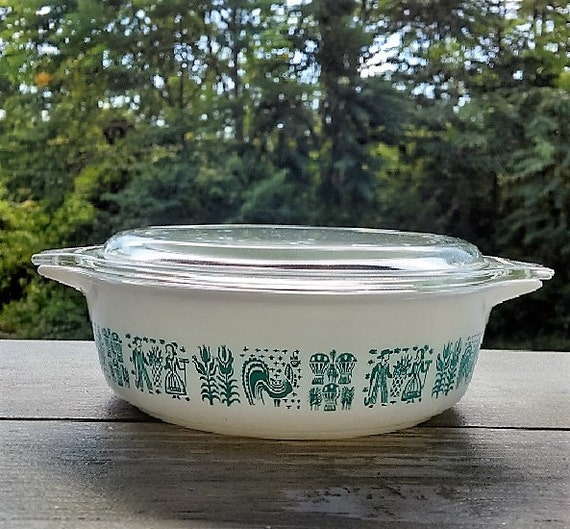 Vintage Pyrex Amish Blue Butterprint  Refrigerator Dish, Blue/Turquoise and White Small Pyrex Casserole Dish With Glass Lid