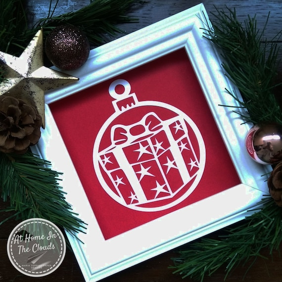 Paper Cutting Template, Personal & Commercial Use, Giant Christmas Bauble (Star Gift) + Tags, Christmas Card, Christmas Decoration, DIY