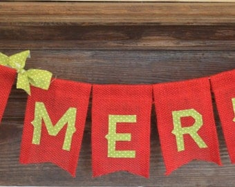 Be Merry Banner, Christmas Banner, Burlap Christmas Banner, Christmas Decor, Christmas Photo Prop, Holiday Banner, Mantle Decor