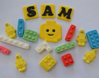 Handmade edible Lego, Lego Man, Lego Brick Cake Topper, birthday