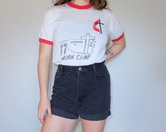 1977 Vintage 70s Ringer Tee White & Red Work Camp Church Camp Gene Summer Camp T-Shirt Tee Shirt