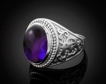 Sterling Silver Om (Aum) Purple Amethyst Cabochon Yoga Ring