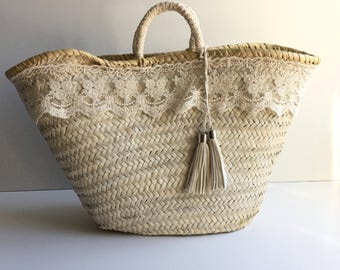 Decorated carrycot / decorated basket / bag shabby chic / bag clear