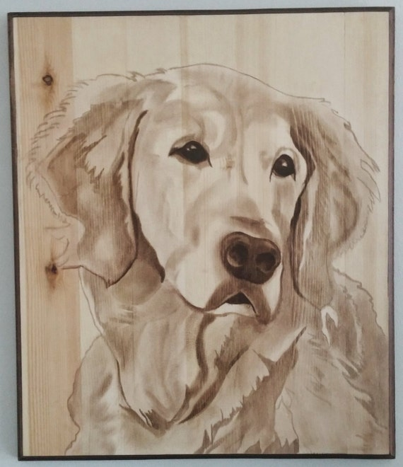 Wood Stain Dog Portrait