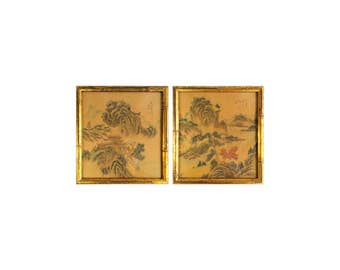 Antique Pair Japanese Framed Wall Art Painting Watercolor on Silk