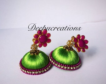 Silk thread jhumkas-silk thread earrings-flower stud