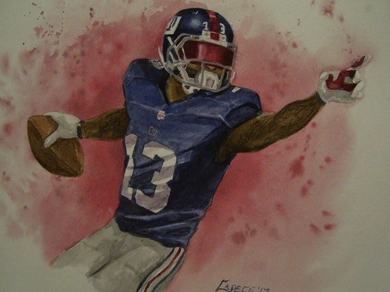 Odell Beckham JR.,Giants WR, 16 x 20 Original Watercolor,One of a Kind, Not a Print,Free Shipping Code SKYE2