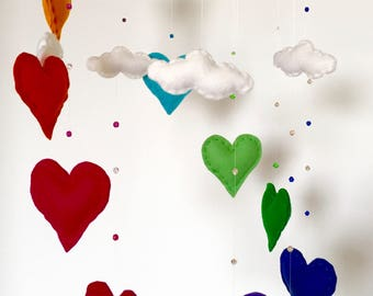 Rainbow heart & cloud felt mobile
