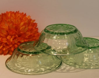 Vaseline Glass Bowls - Set of 3 Ghost Glass - Depression Glass Custard Bowls - Art Deco Berry Bowls