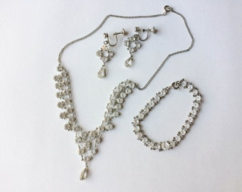 Vintage Engel Brothers Crystal Necklace, Bracelet, Clip On Earring Set with Case