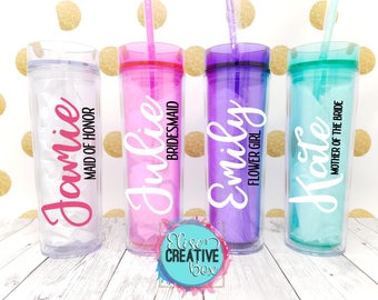 Bridesmaid Personalized Tumbler | 1 ct Bridal Party Tumbler | Tumbler Color Options | Custom Vinyl Lettering Colors | Bridal Party Gifts