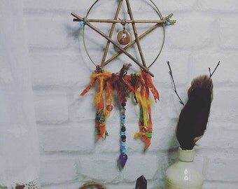 Willow pentagram,willow pentacle,pentagram wall hanger,pendulum window hanger,pagan decor,pagan altar decor,amethyst pendulum,pentagram