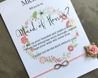 Maid of honor proposal, Ask maid of honor, Wish bracelet, Infinity bracelet, Maid of honor gift, Will you be my maid of honor, B39