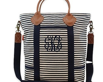 Monogrammed Canvas Tote, Monogrammed Laptop Bag, Canvas and Leather Tote Bag, Flight Bag, Laptop Bag, Monogrammed Travel Tote - CB01