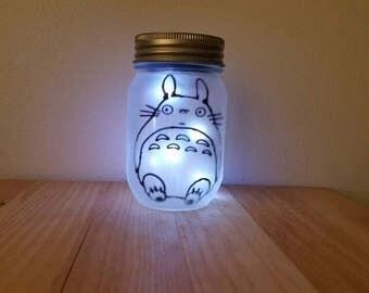 Mason Jar Night Light, Solar Powered Night Light ,Light Jar, Totoro Night Light, Totoro Jar