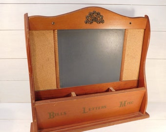 Vintage Wood Mail Slot Organizer Bulletin Chalk Board, Farmhouse Chic