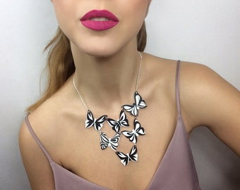 Butterfly Statement Necklace, Monochrome Bib Silver Chain Statement Necklace, Layered Jewellery