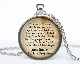 Jane Austen jewelry quote  Pride and Prejudice Quote Jane Austen Necklace Jane Austen pendant