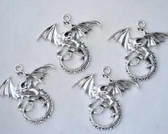 2 Pcs Large Dragon Pendants Dragon Charms Antique Silver Tone 41X45mm- YD0514