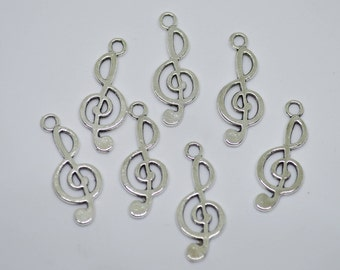 10 Pcs Music Note Charms Antique Silver Tone 2 Sided 10x24mm - YD0315