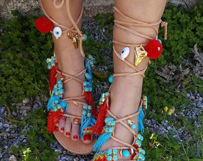 "Greek handmade sandals ""INDIANA'' tie up gladiator sandals,boho,ethnic,fringes sandals,women's sandals,lace up,bohemian Sandals,native"