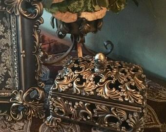 Decorative Embellished GOLD rectangle box