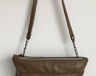 Chocolate brown soft leather clutch bag, crossbody bag, shoulder bag with chain