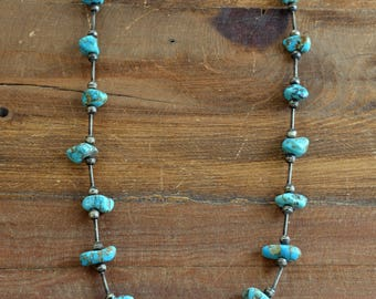 """26"""" Vintage Turquoise Nugget and Sterling Silver Bead Necklace"""