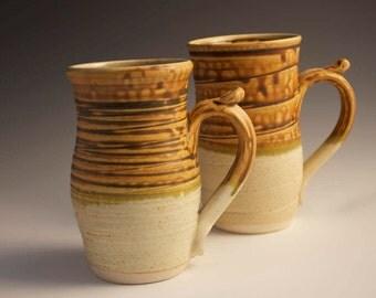 Large Hobbit Brown Mug Hand Thrown Ceramic Pottery