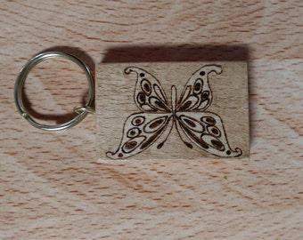 Butterfly - Pyrography Keyring