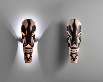 wood tribal mask, African mask, tribal, light fixture, wall lamp, wall light, wall light fixture, wall mask decor, Home Decor, wall decor