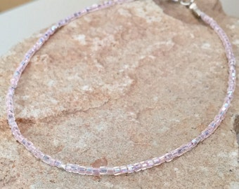 Pink seed bead anklet/ankle bracelet, body jewelry, Hill Triber silver anklet, sterling silver anklet, small anklet, gift for her