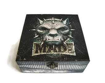 Mad Dog Wooden jewelery box, Rock, Dog, rocker, heavy metal, punk, Gift for a man, bad Dog, bad boy, birthday gift for him, gift for her