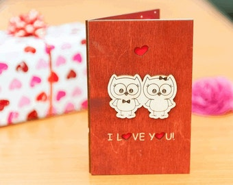 "Wooden LOVE card, wooden VALENTINES card, wooend greeting card, valentines gift, wood, card, love, gift, wooden,  love card ""Owl"" mahogany"