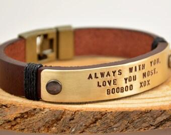 FAST SHIPPING, Men's Bracelet, Leather Bracelet, Gift For Him, Mens Custom, Personalize Men Bracelet, Custom Mens Jewelry, Hand Stamped Gift