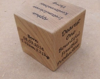 Hand Made, Engraved Occasion Cube