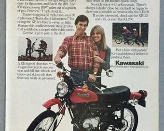 1980 Kawasaki KE100 Motocycle Print Ad