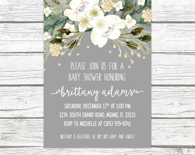 Winter White and Gold Floral Wreath Baby Shower Invitation, Gray Christmas Holiday Rustic Invite, Boy Girl Printable Printed Invitation