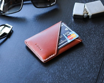 Minimalist Leather Wallet, Leather Card Holder, Front & Back Pocket Wallet, Thin Slim Wallet, Personalized Men's Wallet in Brown