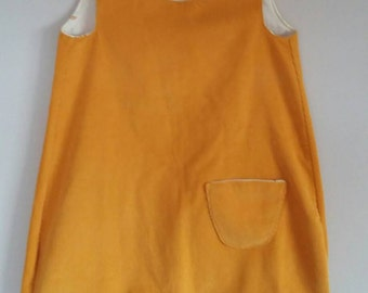SALE girls cord pinafore, Mustard yellow dress, gift for a girl, button up pinafore with pocket and trim, cute girl's cord dress age 3-4