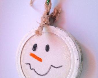 Handmade Primitive Snowman Ornament; Hand Painted Snowman Ornament; Upcycled Snowman Ornament;