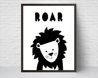Lion Roar Nursery Print, Safari animal poster, Black White Modern Art, Baby Boy Kids Room Decor, Large Print, Minimalist Poster, peekaboo