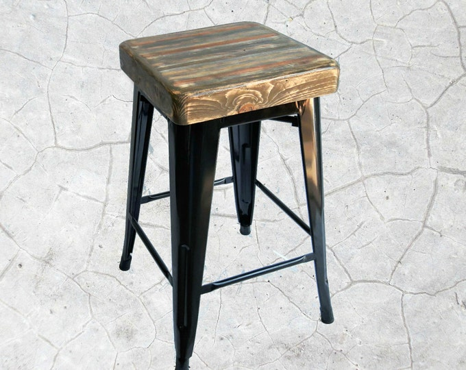Industrial Stool - Reclaimed Wood Top with Metal Base