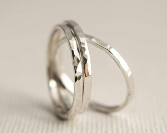 Silver Stacking Rings - Hammered Stacking Rings - Stacking Rings - Stacking Ring Set