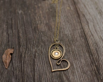 Heart Necklace with spent ammunition casings