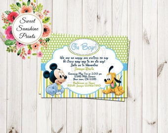 mickey mouse baby shower invitations  etsy, Baby shower invitations