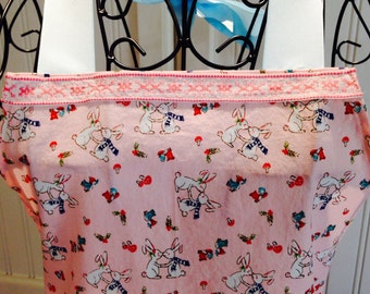 Daughter apron, girls full apron, full apron, bunnies, bluebirds, powder blue ribbon, vintage ribbon trim, eyelet lace, pink, blue, ruffles
