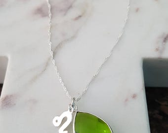 Sterling Silver Peridot Gemstone Leo Charm Necklace