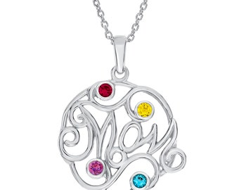 Personalized Mom Necklace, Silver Mom Necklace, Mom Pendant With Four Birthstones, 925 Sterling Silver Family Necklace, Mother Gift for Mom